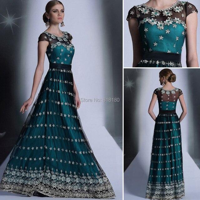 Latest gown designs hot slae vestido de festa longo short cap sleeve ...