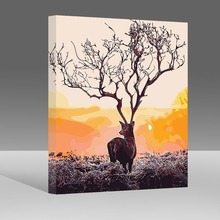 WEEN Deer Animal - Paint by Number Kits for Adults, DIY Oil Painting Numbers on Canvas With Frame, Home decor,Acrylic