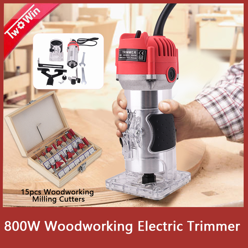 Woodworking Electric Trimmer 800W 30000rpm Wood Milling Engraving Slotting Trimming Machine Hand Carving Machine Wood Router-in Wood Routers from Tools