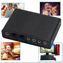 BGEKTOTH 1 Set USB 5.1 Channel External Optical Audio Fiber Sound Card S/PDIF for Laptop PC DN001