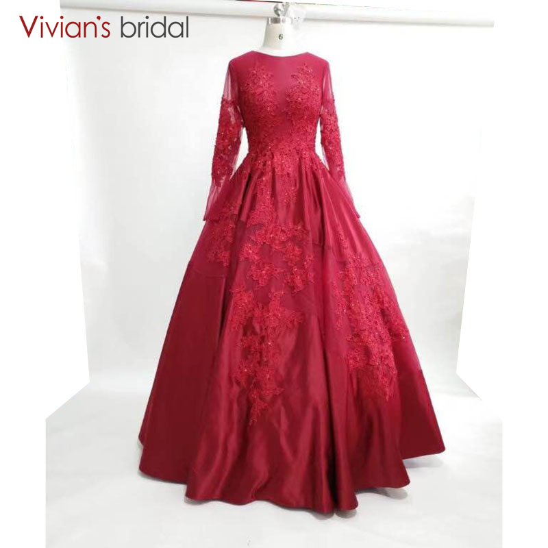 Long Sleeves Burgundy Evening Dresses Ball Gown Prom Party Gowns Plus Size Vestido De Noche 2018
