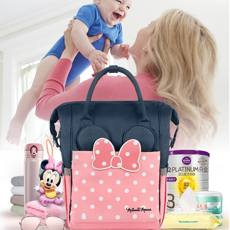 Disney Large Capacity Maternal Diaper Bag Baby Stroller Carriage Bags Mummy Nursing Care Organizer Backpack Travel