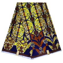 Polyester veritable real wax fabric,Yellow printed ankara african print fabric 6 yards whole for African clothing LBLD-81