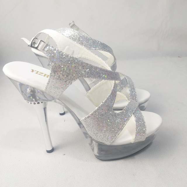 a8097ddc72e6c 14cm High-Heeled Shoes Crystal Platform Sexy Open Toe Sandals Silver  Glitter and Clear 5