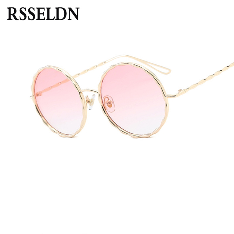 RSSELDN Trend Women Round Sunglasses Fashion Brand Design Ladies Green Gradient Tinted Lens Glasses Female Oculos Goggle UV400
