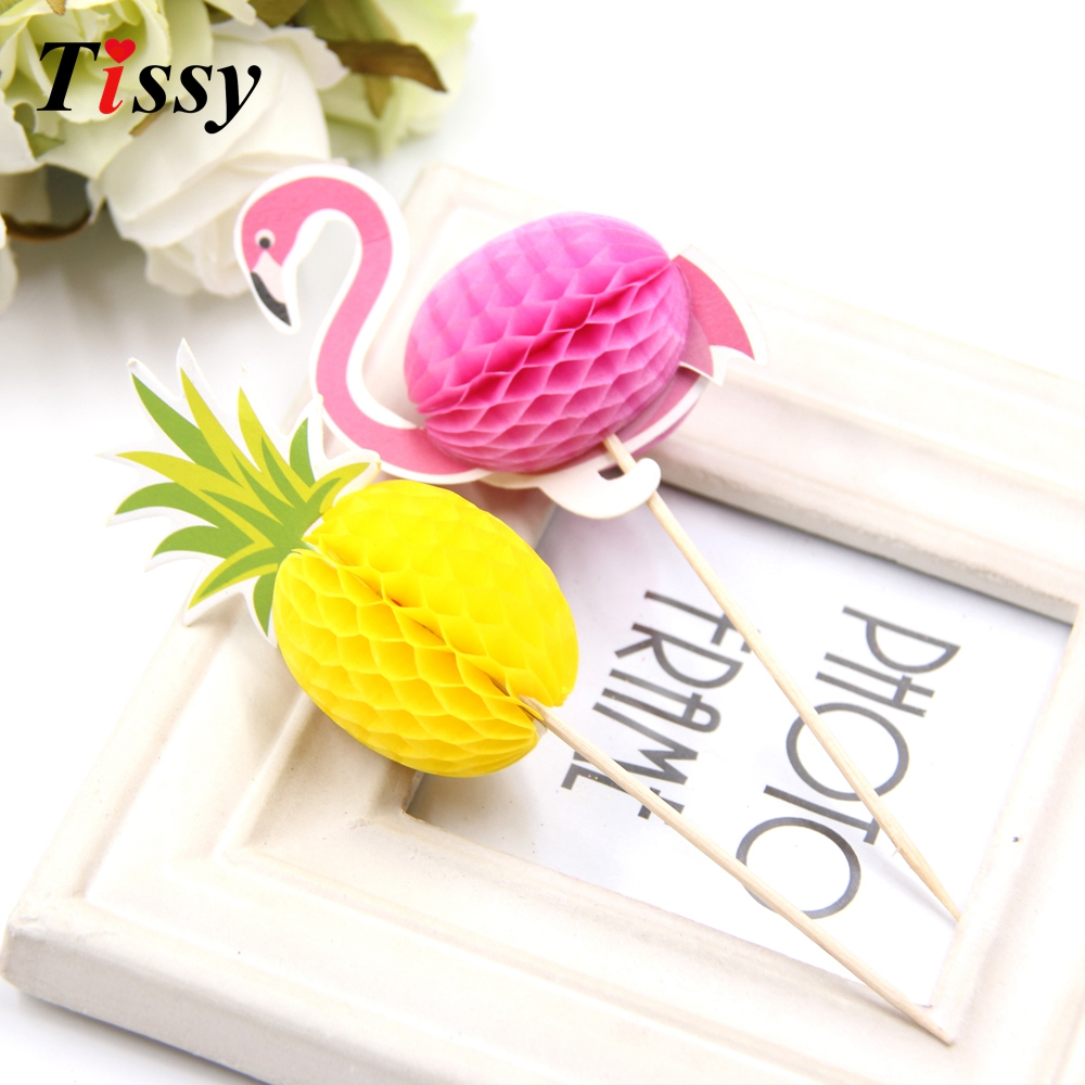 20PCS Flamingo&Pinapple Cupcake Toppers Cakes Topper Picks Party Favors Wedding/Birthday Party Decoration Baby Shower Supplies