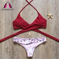 TOPMELON Bikini 2017 Swimsuit Women Mini Bikini Push Up Bandage Beachwear Bathing Suit Brazilian Triangle Sexy