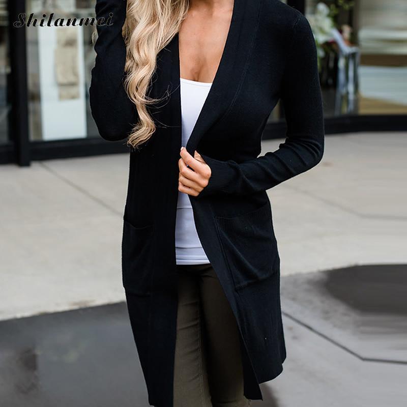 2018 Herbst Büro Dame Business Casual Lange Hülse Dünne Gestrickte Cardigans Schwarz Mid-lange Mode Frau Elegante Outwear Tops Um Zu Helfen, Fettiges Essen Zu Verdauen