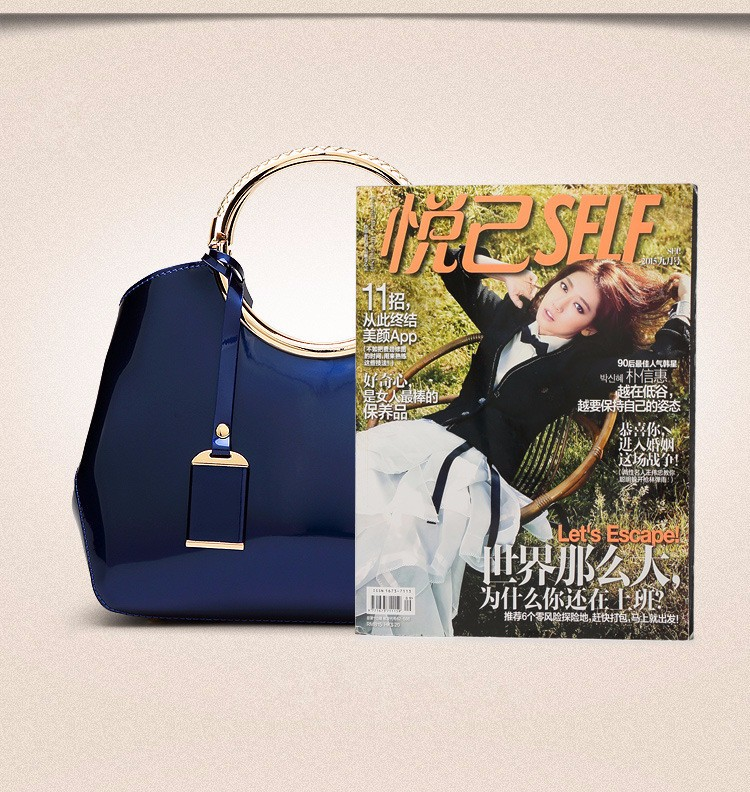 Promotion of new women's bags,Patent Leather Women Bag Ladies Cross Body Shoulder Bags Handbags Blue one size 23