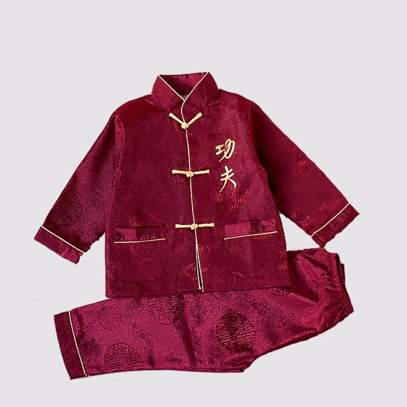 Детский костюм кунг фу с вышивкой, с длинным рукавом, в китайском стиле|kung fu suit|kung fustyle kung fu | АлиЭкспресс
