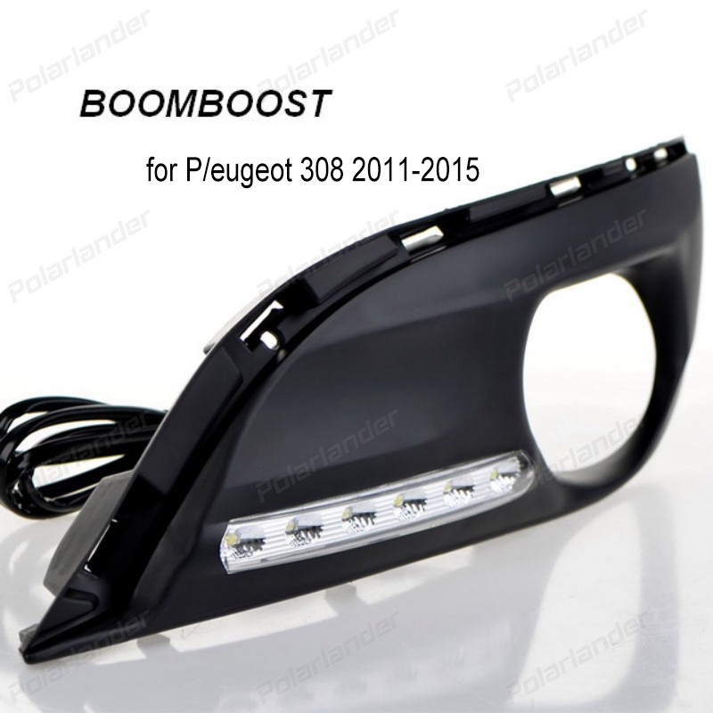 BOOMBOOST 12V 6000k LED DRL Daytime running light f for Peugeot 308 2011-2015 fog lamp Car styling auto accessory