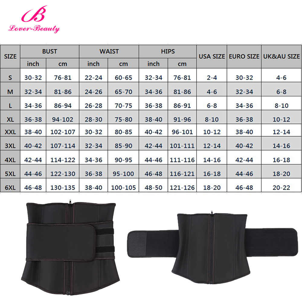 Lover Beauty Abdominal Belt High Compression Zipper Plus Size Latex Waist  Cincher Corset Underbust Body Sweat Waist Trainer C