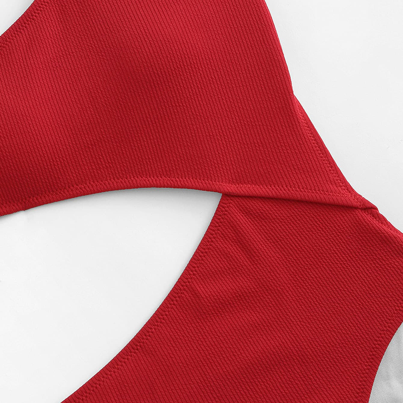 Red One Shoulder Cutout One-Piece Swimsuit 8
