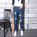 Large Size S-5XL Korean Loose Knee Hole Women's Jeans Pants Female Jean Trousers Causal Jeans Ripped For woman Ladies 40-200Kg