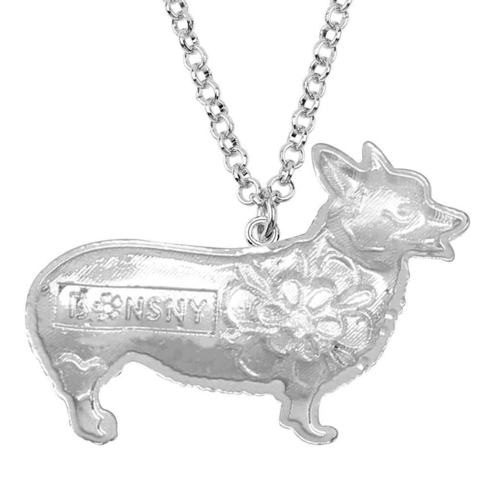 Bonsny Kim Loại Men Tuyên Bố Corgi Dog Choker Vòng Cổ Maxi Dây Chuyền Mặt Dây Chuyền Cổ Áo 2017 Đồ Trang Sức Mới Cho Phụ Nữ Phụ Kiện Bijoux
