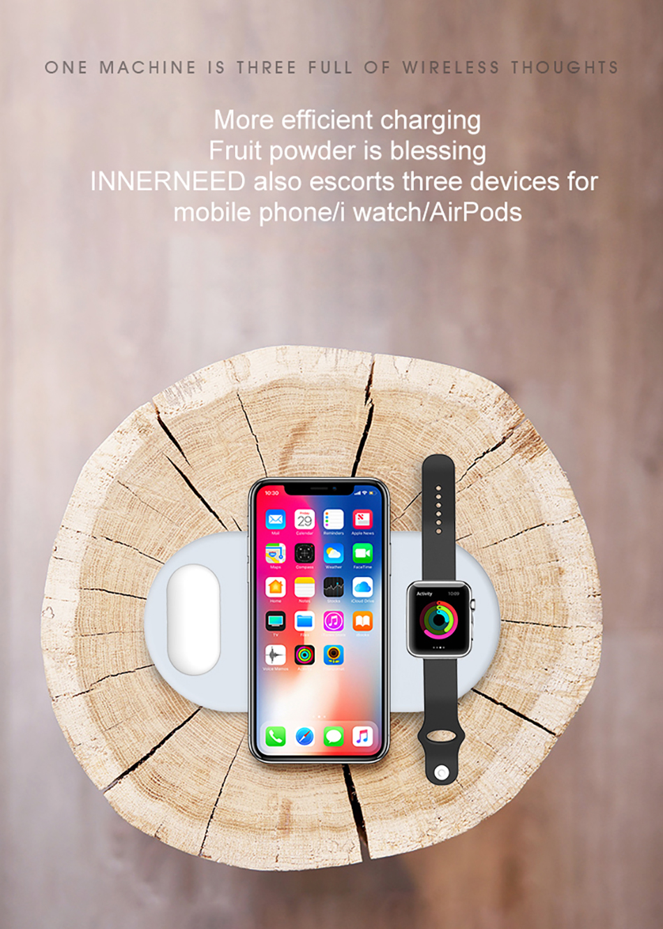 !ACCEZZ Qi Wireless Charger Fast Charging 3 in 1 For iPhone X XS Max 10W For Apple Watch Airpods USB Qi Charger Pad For Samsung (6)