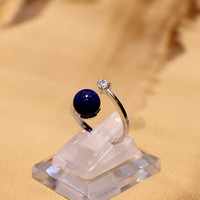 The Character Of Silver Fashion Elegant Lady Natural Lapis S925 Sterling Silver Ring Opening Design