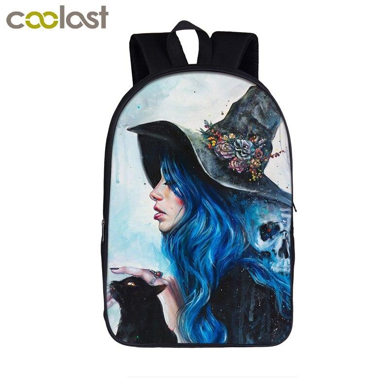 The Witching Hour School Backpack for Teenage Girls Boys Mystery Cat Children Schoolbag Cool Women Men Travel Bag Laptop mochila