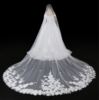 New Lace Appliques With 3D Flowers Long Cathedral Bridal Veil 4M Long Bridal Wedding Accessories White ivory One Layer