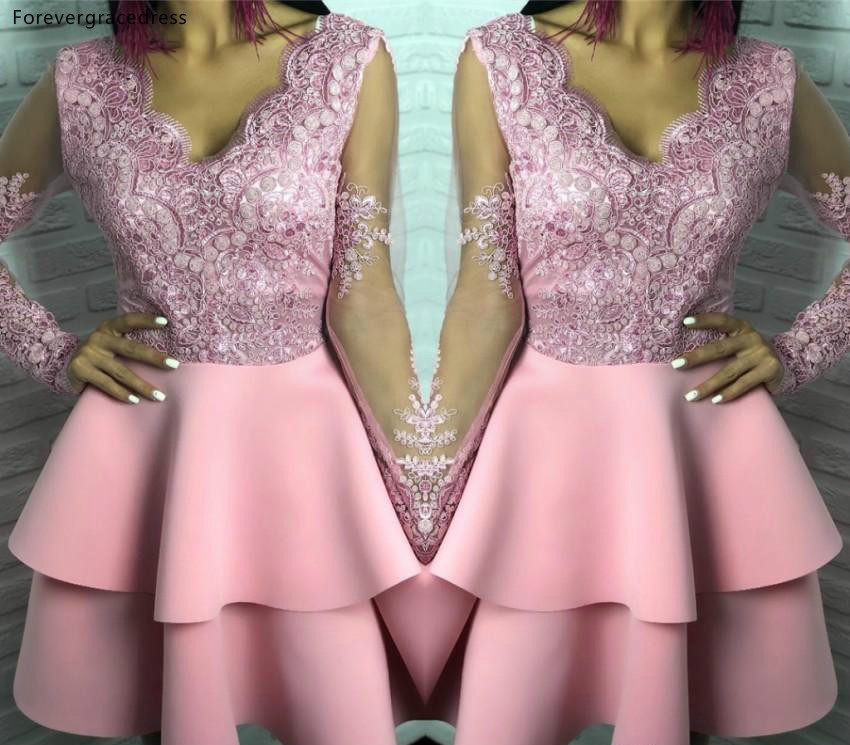 Pink   Cocktail     Dress   Arabic Dubai Long Sleeves Knee Length Formal Club Wear Homecoming Prom Party Gown Plus Size