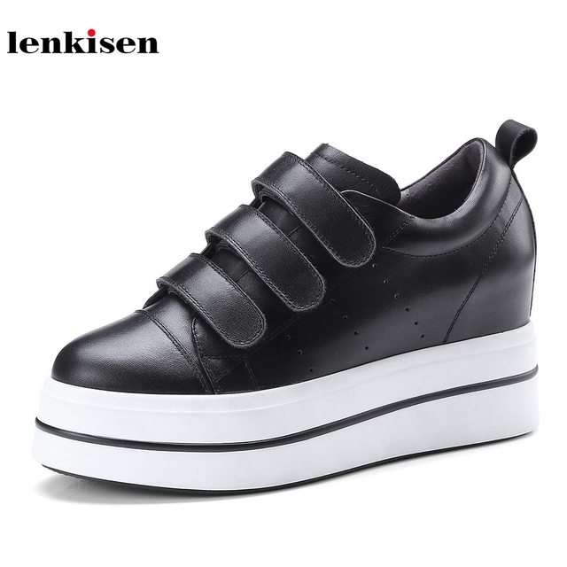 0750e85ed61 Lenkisen-cow-leather-round-toe-hook-loop-thick-bottom-simple-sneaker-shoes-super-high-heels-famous.jpg_640x640.jpg