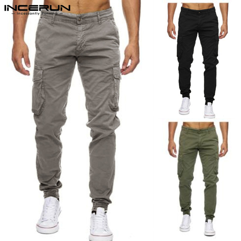 Plus Size 40 Mens Casual Pants Cargo Joggers Pants Military Tactical Fitness Work Trousers Low Waist Multi-Pockets INCERUN