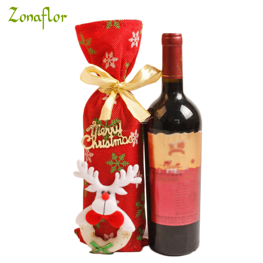 Zonaflor christmas wine bottle decor bag santa claus for Wine shop decoration