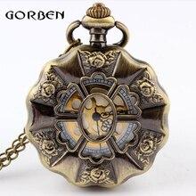 Ретро Бронзовый цветок кварцевые карманные часы ожерелье подвеска цепь антикварные карманные Fob часы для женщин мужчин часы relogio de bolso