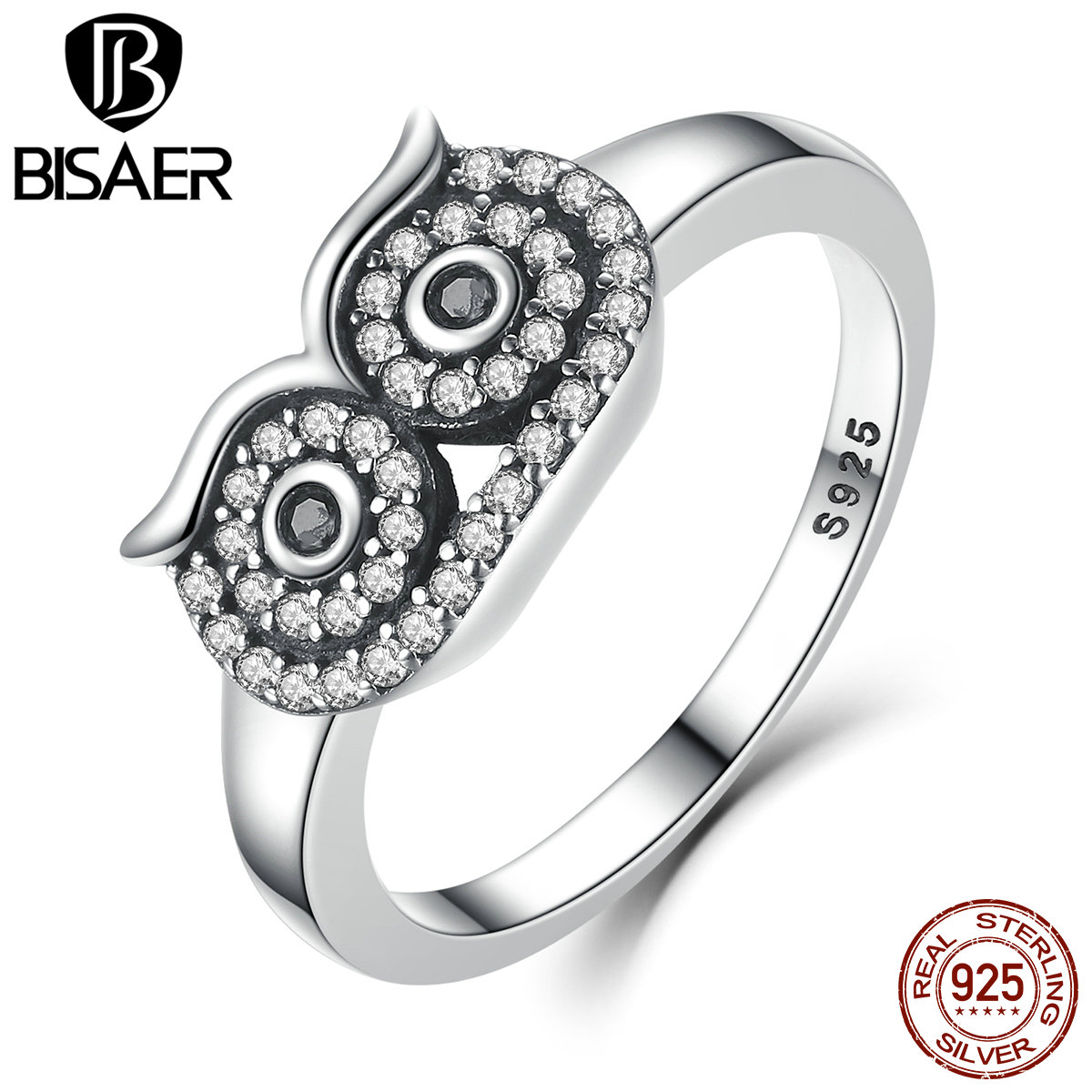 Authentic 100% 925 Sterling Silver Clear Cz Cute Owl Stackable Finger Ring  For Woman Wedding