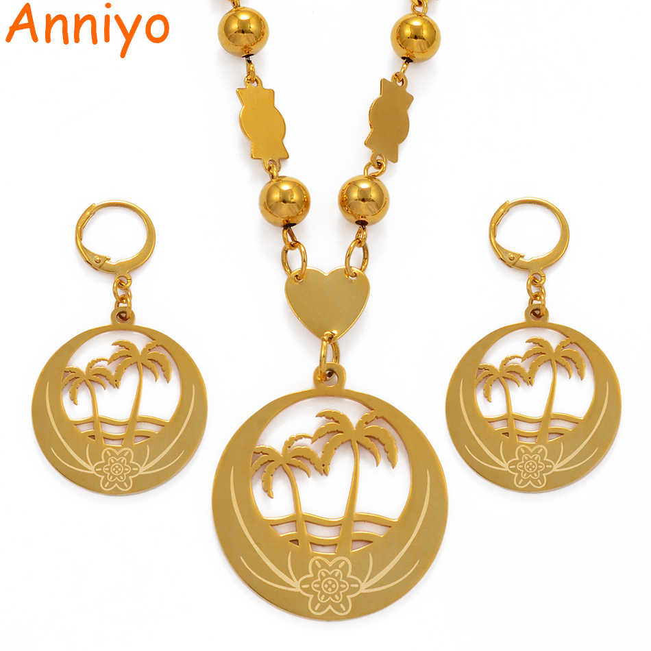 Anniyo Coconut Tree Large Size Jewelry set Bead Necklace Earrings for Women Gold Color Micronesia Guam Hawaii Marshalls #076621