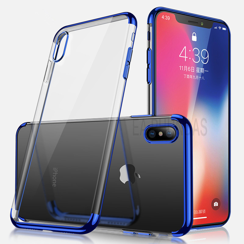 Soft Silicone Case on for iphone XS XR XS Max Luxury phone plating Clear TPU Cover for iphone 5 5S SE 6 6s plus 7 8 Plus X Case iPhone XS