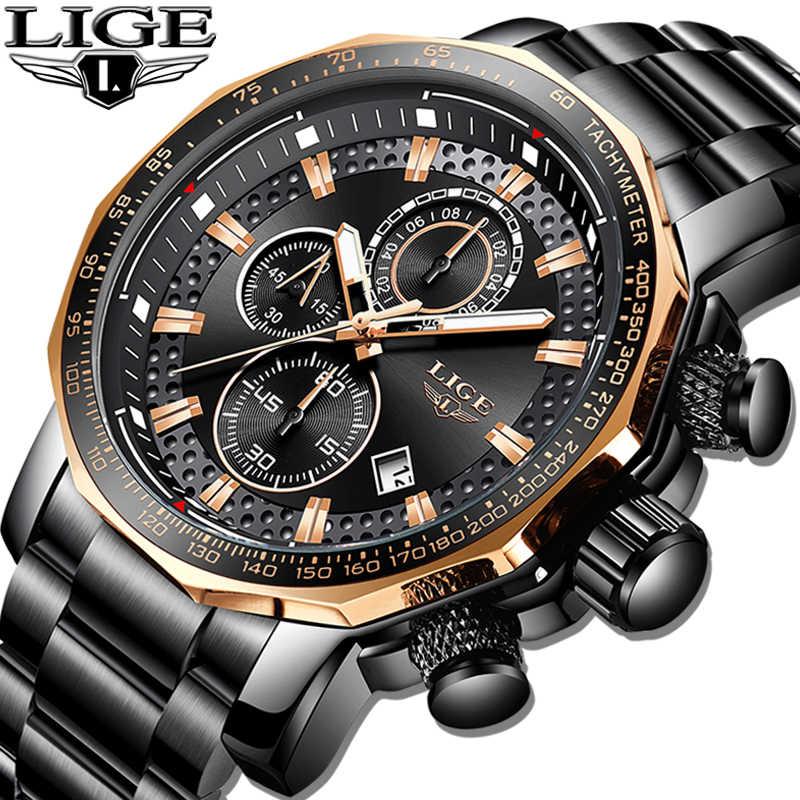 LIGE nuevo cronógrafo deportivo para hombre relojes de marca superior de lujo reloj de cuarzo de acero completo resistente al agua gran Dial reloj de hombre reloj de reloj