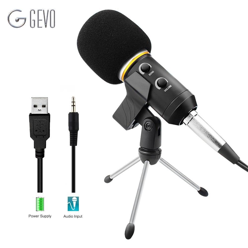 GEVO MK-F200FL USB micrófono condensador 3,5mm estudio profesional con cable trípode Handheld Mic para conferencia Karaoke PC
