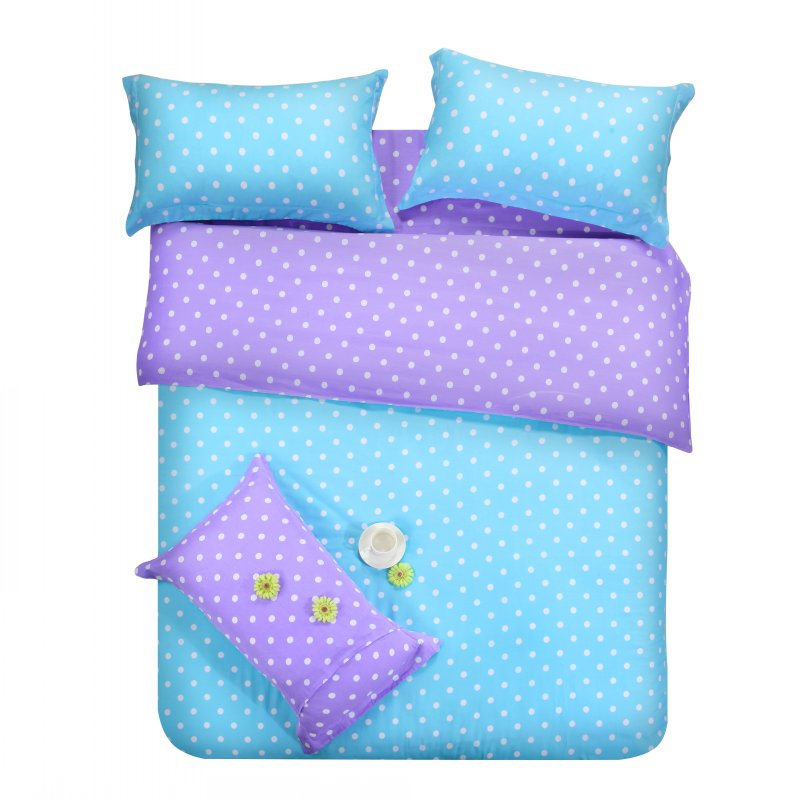 purple blue dots bedding sets polka dot full double queen size quilt duvet cover bed sheet