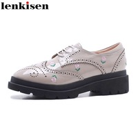 Lenkisen 2018 New Round Toe Lace Up Embroidery Sweet Platform Causal Shoes Oxford Thick Heel Elegant