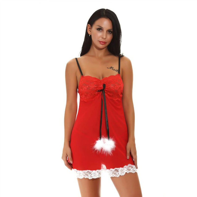 Christmas Nightdress Nightgowns Sexy Ladies Lingerie Erotic Costumes Women Underwear Sexy Sleepwear Home Clothing Plus Size XXL