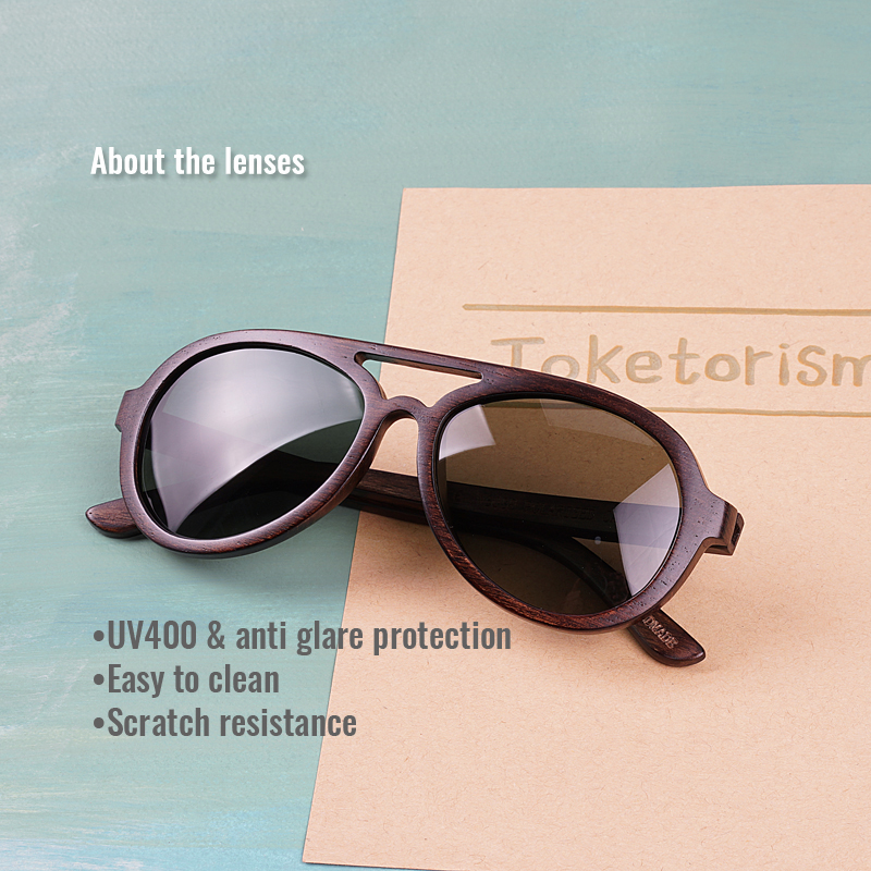 Image 2 - Toketorism wooden sunglasses men polarized uv400 high quality wood glasses 8303-in Men's Sunglasses from Apparel Accessories