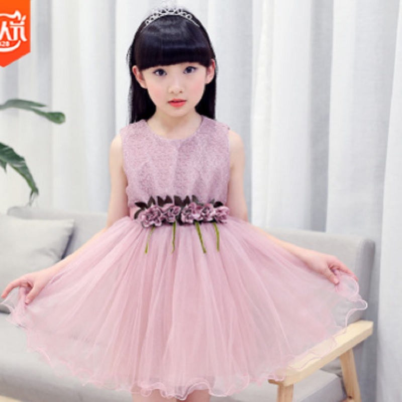 Childrens Lace Sashes Sleeveless Dress New 2019 Summer Girls Cool Princess Dress 2 Colors Size110-160 Cute Solid Dress ly033Childrens Lace Sashes Sleeveless Dress New 2019 Summer Girls Cool Princess Dress 2 Colors Size110-160 Cute Solid Dress ly033