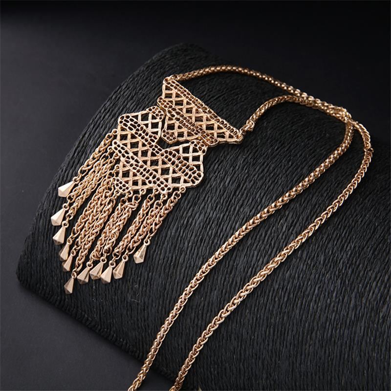 Gold Necklace Designs in 10 Grams Yellow Necklace Metal Tassel