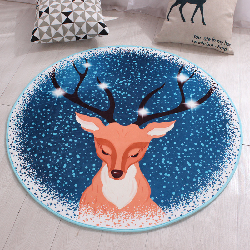 byetee Christmas Round Soft Carpets Anti-slip Rugs 60/80/100/120cm Computer Chair Mat Floor Yoga Rugs Bedroom Mat for Kids