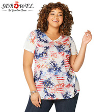 SEBOWEL Plus Size Short Sleeve Dye Tees Womans T-shirt Summer 2019 Celebrate Festival Female Lady V-neck Casual Basic Tops