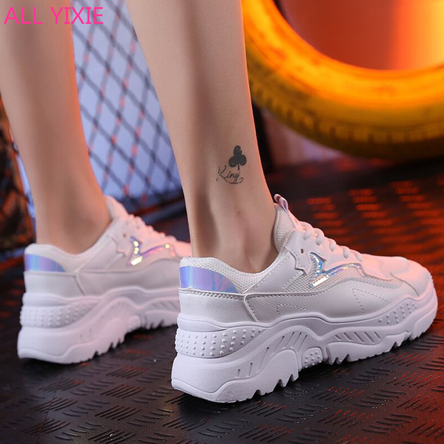 DAOKFPO 2019 Women Casual Shoes Autumn Mesh Women Shoes Flats Platform Lace-Up Fashion Breathable Women Sneakers