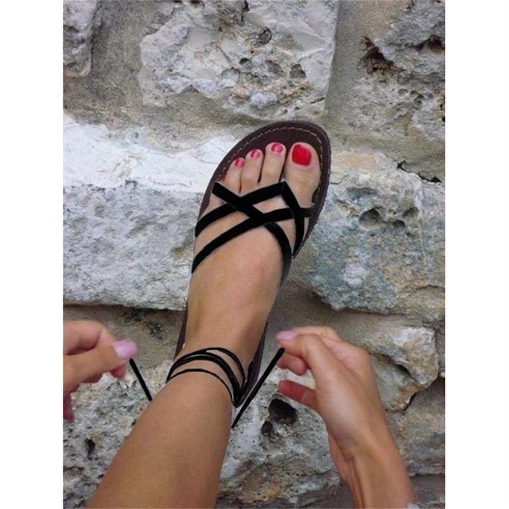 WENN FÜHLEN Sommer Retro Damen Strand Sandalen römersandalen Frauen Sandalen Mode Gladiator Sandalen Für Frauen Schuhe Flach Frau