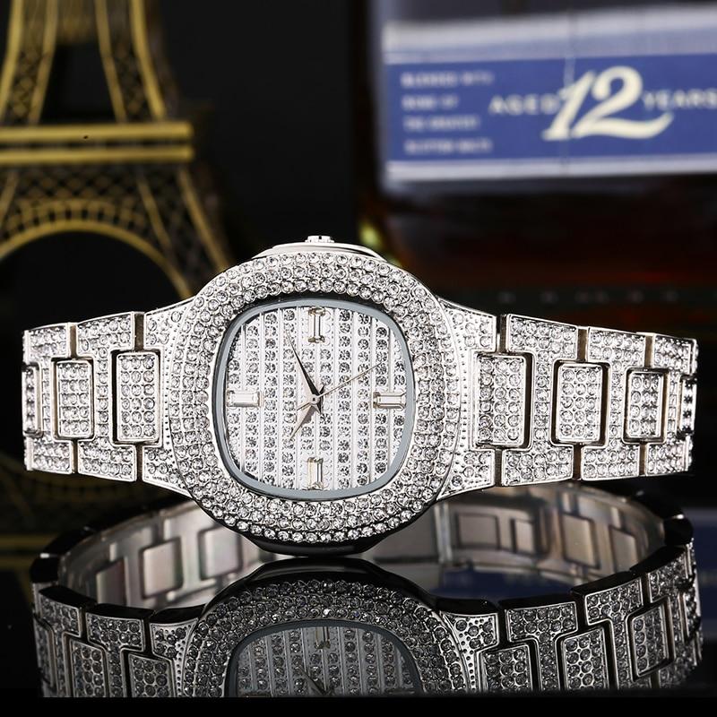 Hip Hop Square Quartz Watch For Women Men Luxury Full Diamond Watch Waterproof Watch Clock Bands Wristwatch Party Gift W0006