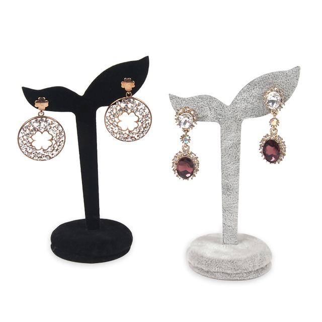 Tonvic 4 Gray Black Velvet Earring Display Stand Holder Jewlery Tree For 2 Holes