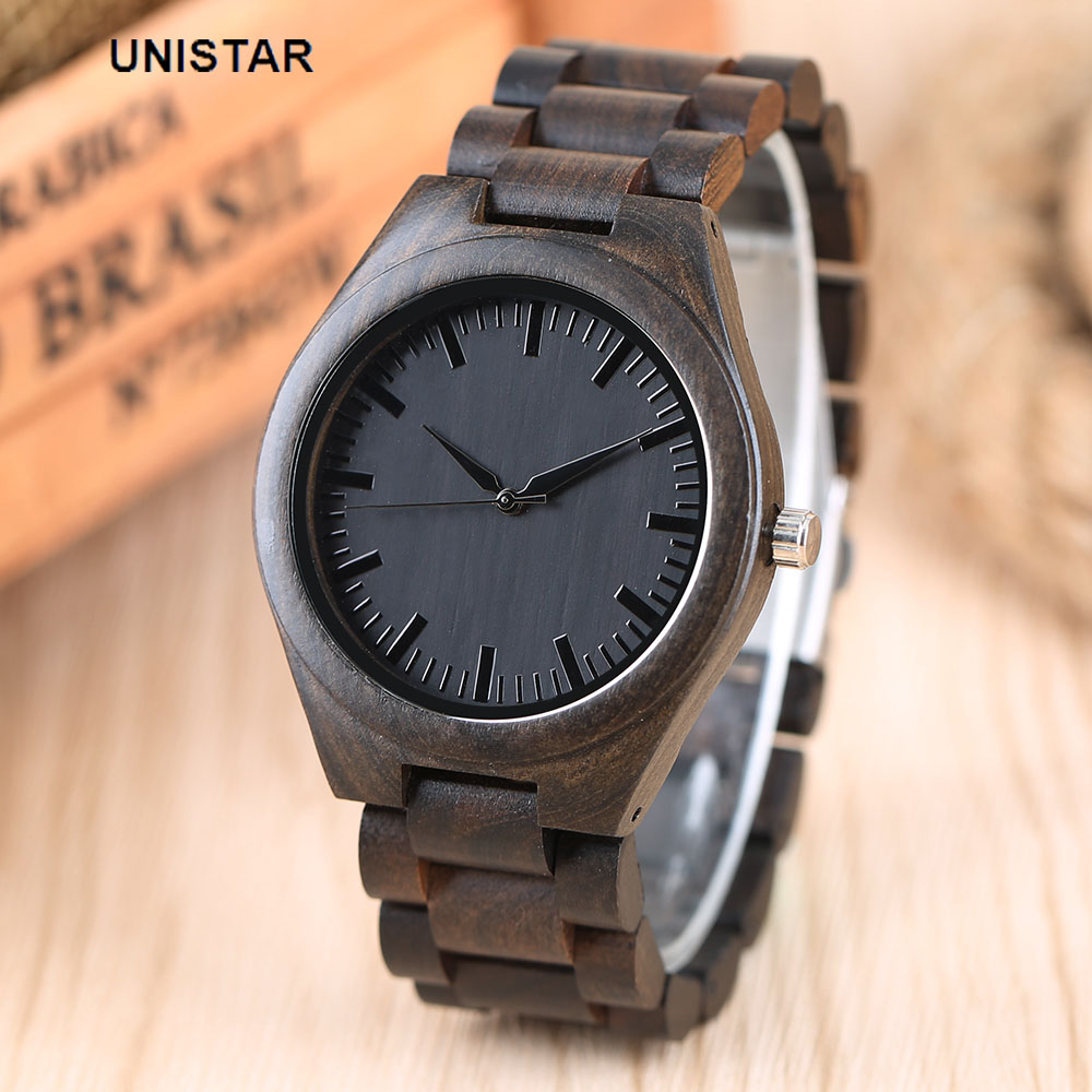 UNISTAR Luxury Black Fashion Nature Wooden Watches Quartz Father's Day Gift Top Men Watches Relojes de madera Relogio Masculino unistar luxury nature wooden wrist watches quartz father s day gift top men women watches relojes de madera relogio masculino