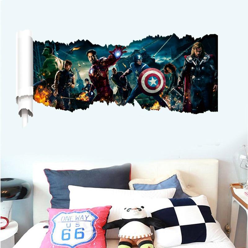 90*50cm 3D popular cartoon movie Captain America home decal wall sticker handsome boys love kids room super hero birthday gifts