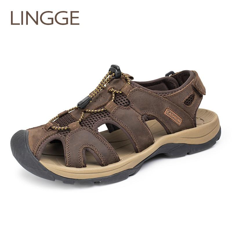LINGGE Genuine Leather Men Sandals Cow Leather Men Summer Beach Breathable Men Sandal Rubber Sole Causal Shoes Plus Size 38-45
