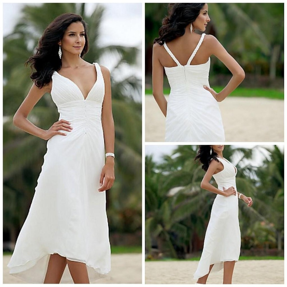 Chiffon wedding dresses under 100 a line mid calf short beach v chiffon wedding dresses under 100 a line mid calf short beach v neck pleat back zipper tiered cheap tea length bridal dress hot in wedding dresses from ombrellifo Image collections