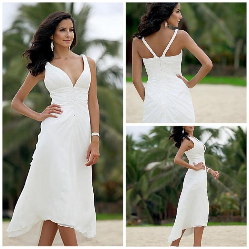 Popular hot bridal dresses buy cheap hot bridal dresses lots from chiffon wedding dresses under 100 a line mid calf short beach v neck pleat back ombrellifo Gallery